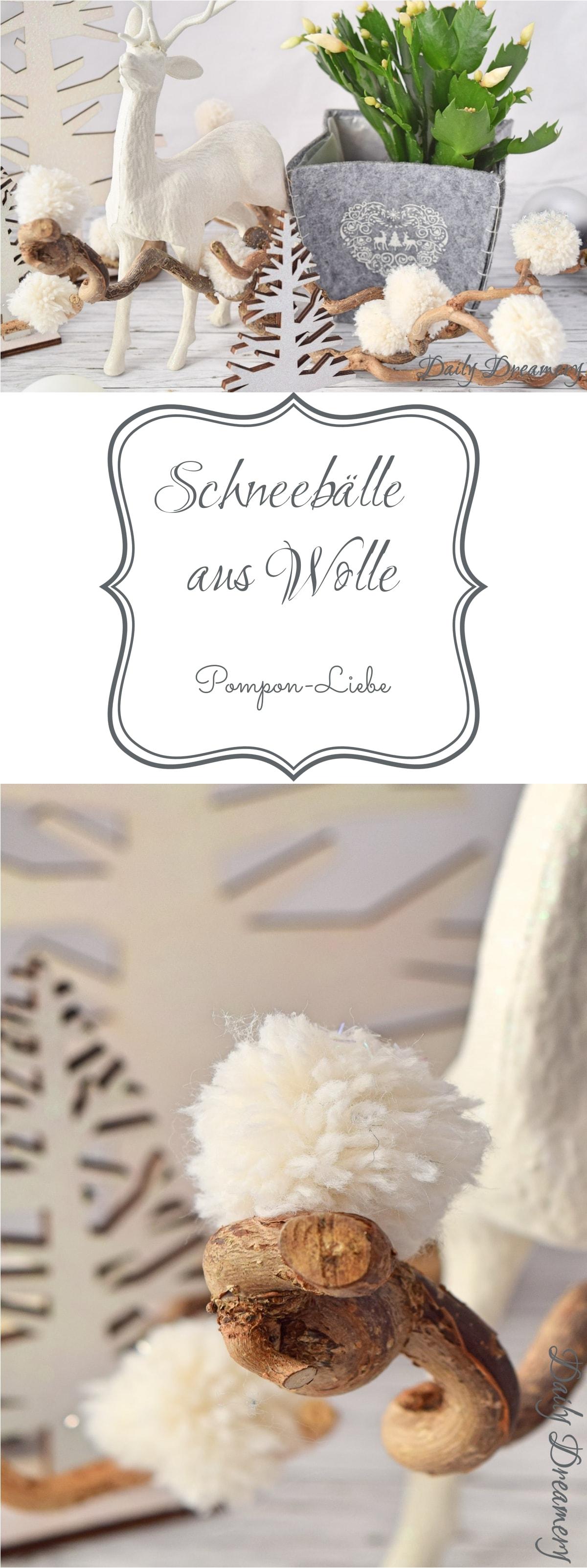 Schneebälle aus Wolle - herrlich leichte Dekoidee für den Winter