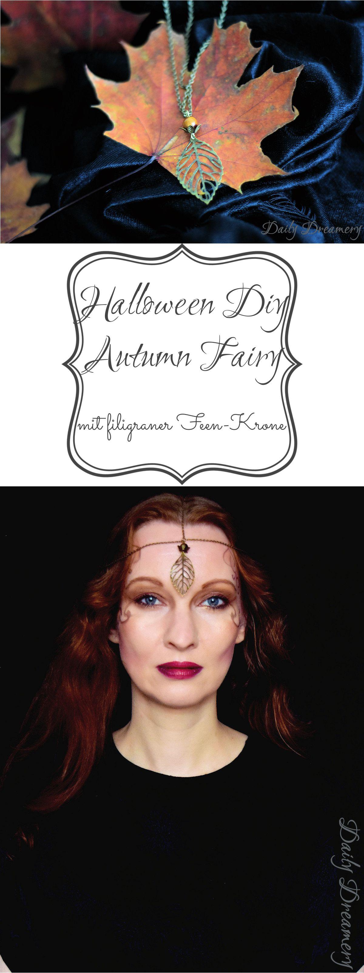 mystisch-eleganter Halloween-Look, ganz einfach zu schminken und mit zarter feenhafter DIY-Krone zum Nachmachen. Happy Halloween!