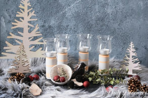 eleganter DIY Adventskranz aus Naturmaterialien in neuer Form