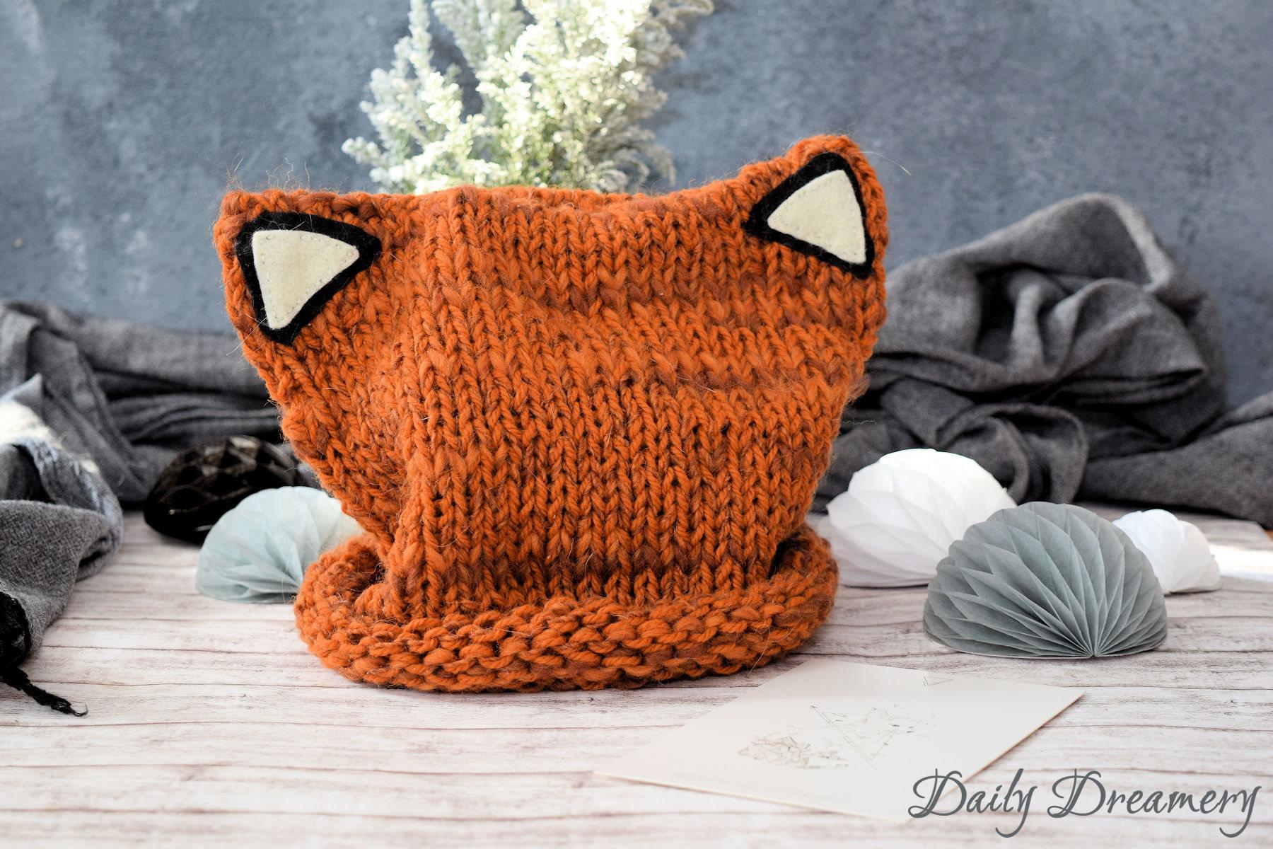 oberniedliche Fuchsmütze ganz easy selber stricken - für Anfänger geeignet #stricken #mütze #kawaii