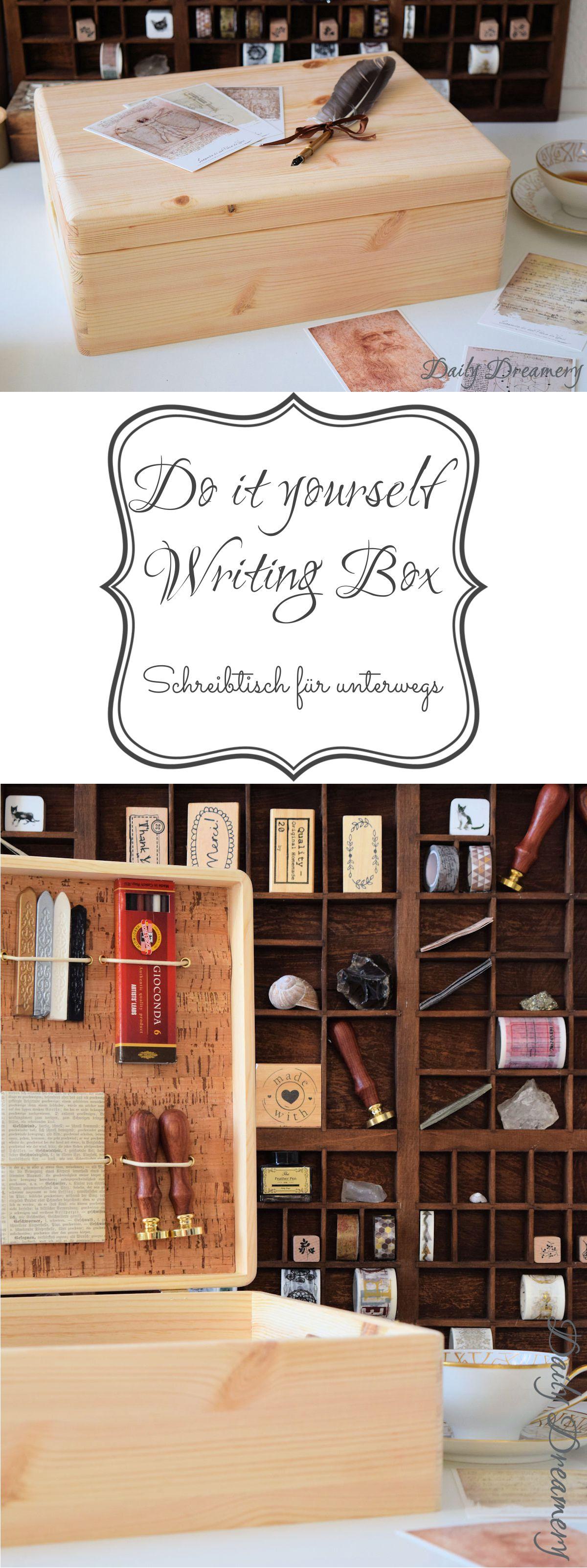 DIY Writing Box - dein Schreibtisch zum Mitnehmen. Damit weckst du ganz sicher den Autor in dir. #writingbox #writer #diy