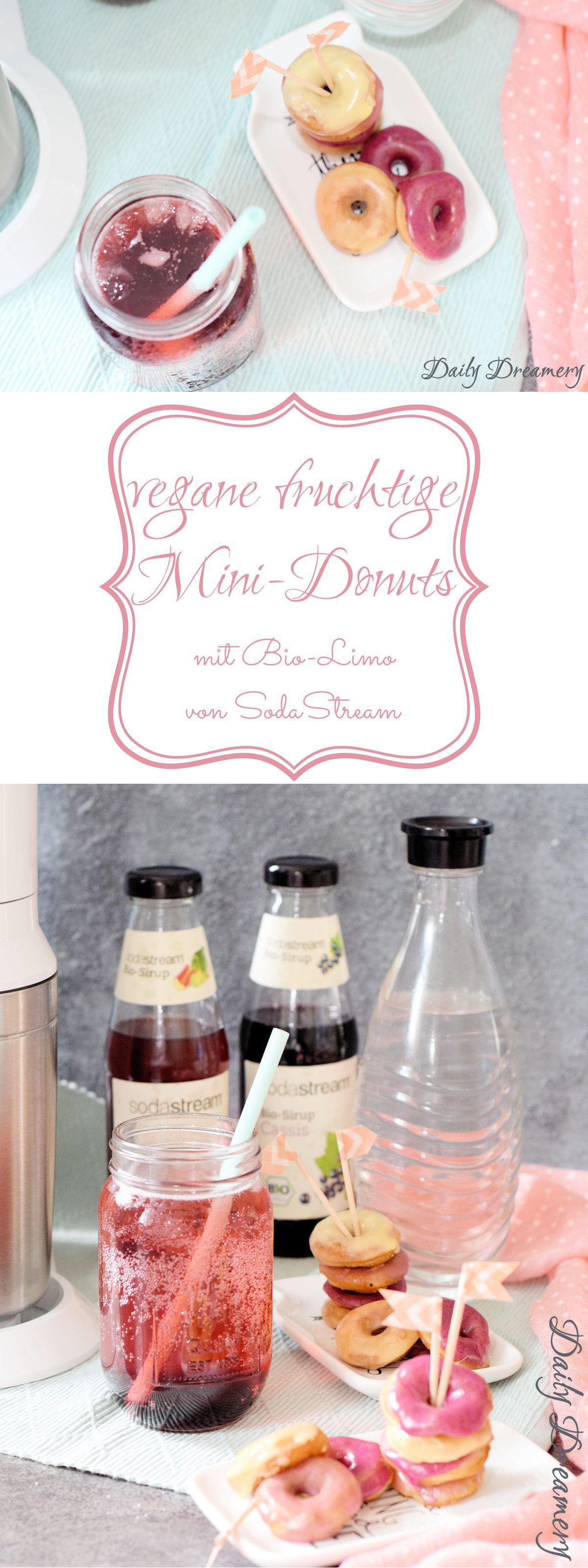 Rezept für vegane Mini-Donuts mit fruchtigem Guss und spritzige Bio-Limo vom SodaStream #vegan #donuts #sodastream