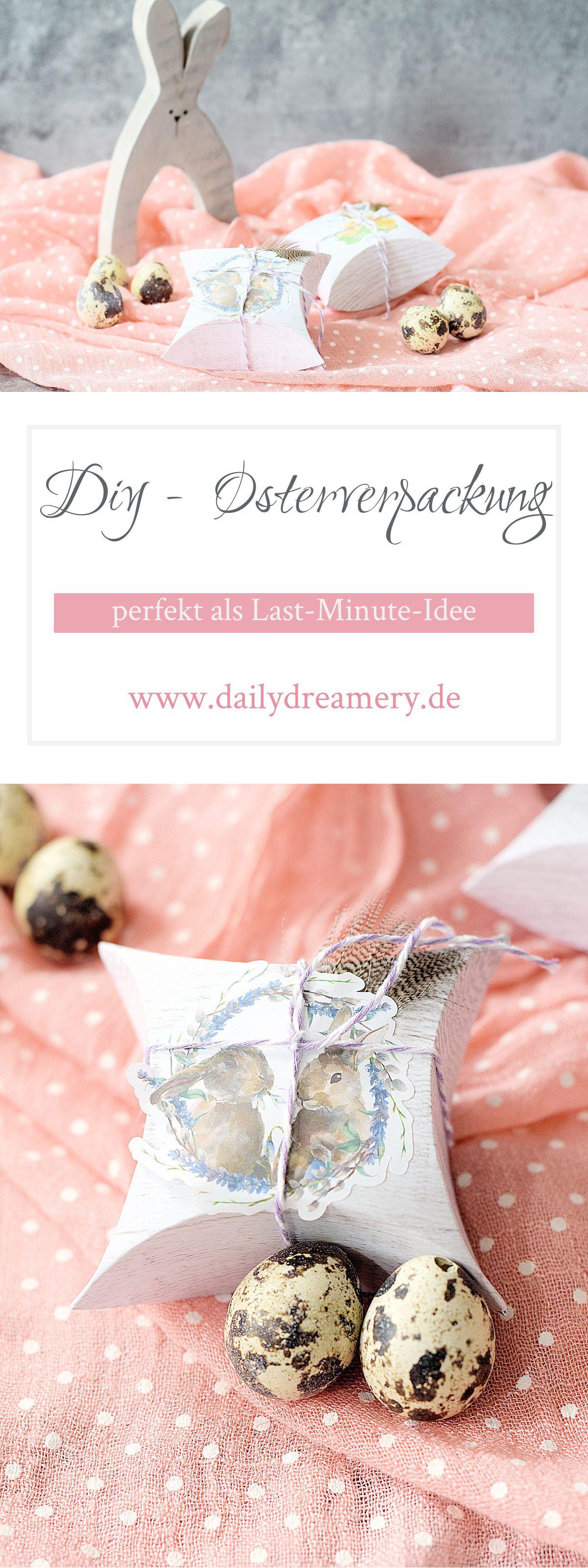 kleine Geschenkverpackung für die Osterzeit ganz einfach selber basteln und mit niedlichen Stickern verzieren #diy #ostern #easter