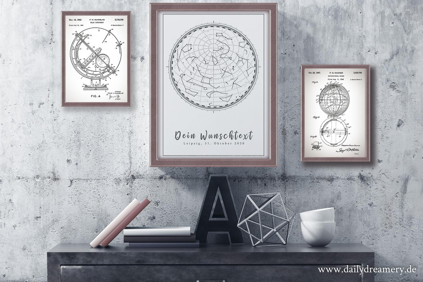 elegantes Sternenhimmel Poster A20 mit weißen Hintergrund und ...
